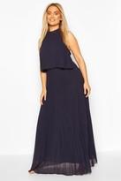 boohoo Plus Occasion Pleated Maxi Dress