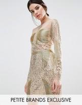 Maya Petite Long Sleeve Gold Embellished Mini Dress