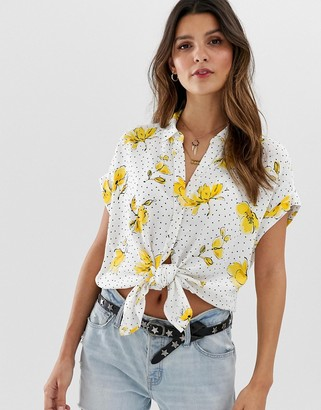 Abercrombie & Fitch tie front shirt in print