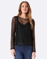 Forever New Katie Lace Trim Dobby Spot Top