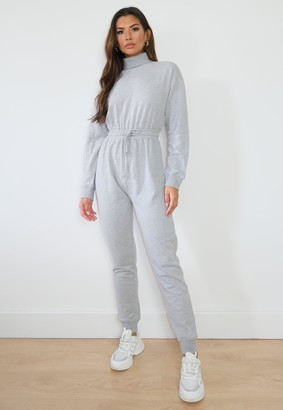 Missguided Grey Roll Neck Jogger Jumpsuit