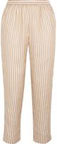 Mes Demoiselles Comic Cropped Metallic Striped Chiffon Straight-leg Pants - Ecru