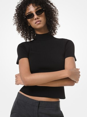 MICHAEL Michael Kors Ribbed-Knit Cropped Mock-Neck Top