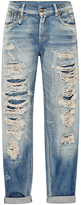 R 13 Shredded Mid-Rise Relaxed Fit Jeans