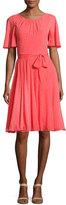 Kate Spade Silk Chiffon Clipped Polka-Dot Dress, Paprika