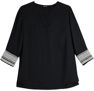 Misook Lace Cuff Crepe de Chine Tunic