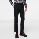 Paul Smith Men's Slim-Fit Black Cotton And Wool-Blend Textured Trousers