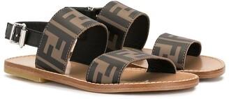 Fendi Kids Open Toe Logo Sandals