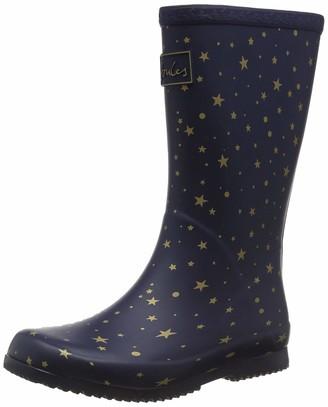 Joules Girl's Roll Up Welly Wellington Boots Blue (Star Gazing) 8 UK (25 EU)