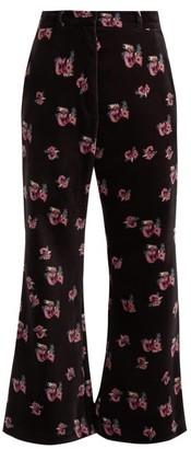 Racil Lauren Floral-print Velvet Flared Trousers - Black Multi