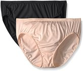 Ellen Tracy Women's 2 Pack Microfiber Hi Cut Brief Panty