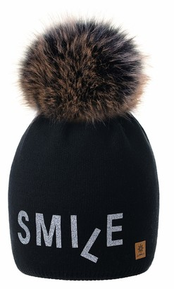 4sold Smile Womens Girls Winter Hat Wool Knitted Beanie with Large Pom Pom Cap Ski Snowboard Bobble Colour Black Silver Fleece Lining