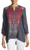 Johnny Was Blooming Ombre Embroidered Blouse