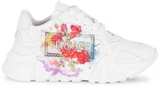 Versace Squalo Logo-Print Leather Sneakers