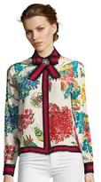 Gucci Pre-owned Grosgrain Trimmed Printed Silk De Crepe De Chine Blouse.