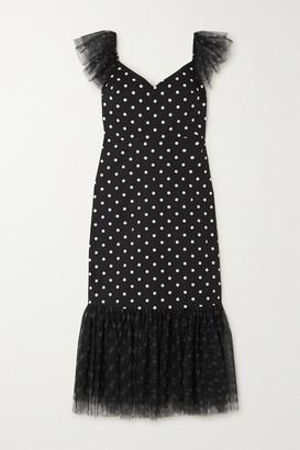 STAUD Marwa Ruffled Polka-dot Cotton-blend And Tulle Midi Dress - Black