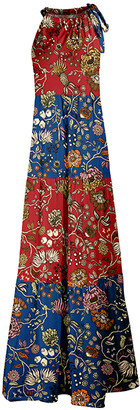 Lily Women's Maxi Dresses RED - Red & Blue Floral Stripe Maxi Halter Dress - Plus