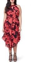 Rachel Roy Plus Size Women's Chiffon Asymmetrical Hem Midi Dress
