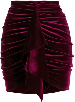 Alexandre Vauthier Velvet Ruched Mini Skirt