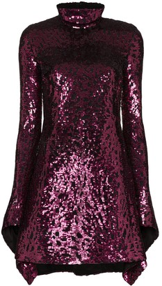 Halpern Draped Sequinned Mini Dress