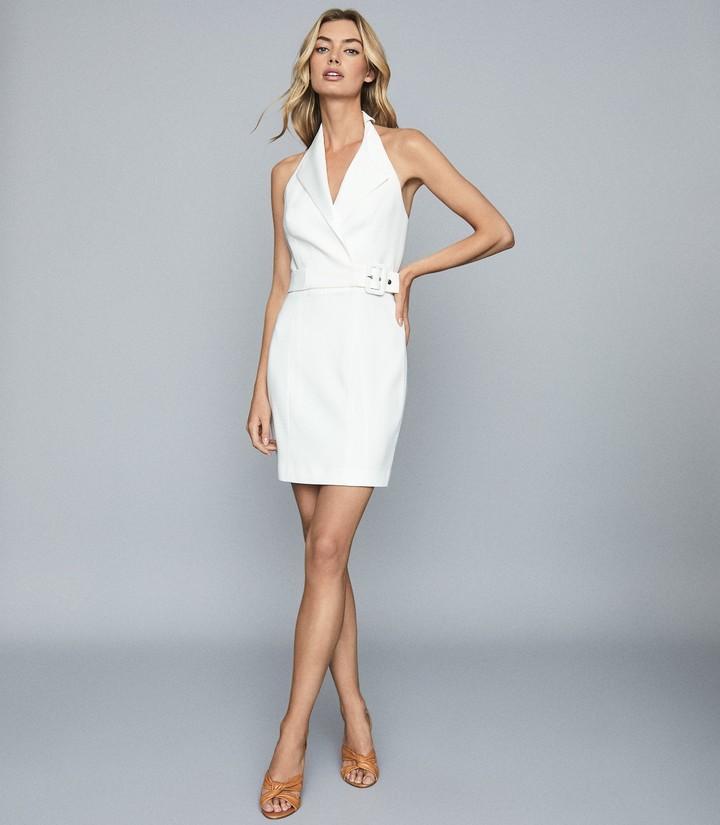 Reiss Immy - Twill Halterneck Tux Dress in White