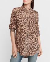 Express Leopard Print Eyelet Lace Trim Shirt