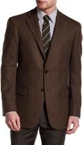 Hart Schaffner Marx Brown Herringbone Two Button Notch Lapel Wool Sport Coat