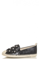 Quiz Black Diamante Flower Espadrilles
