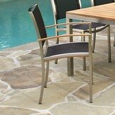 Kingsley Tiburon Stacking Teak Patio Dining Chair (Set of 2 Bate Seat/ Back Color: Bronze, Electropolish Finish: No
