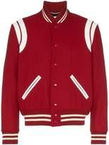 Saint Laurent contrasting leather trim bomber jacket