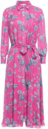 Carolina Herrera + Rose Cumming Belted Floral-print Silk-crepe Shirt Dress