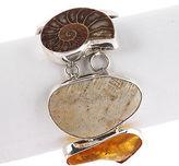Charles Albert Sterling Silver Fossil Ammonite Coral Amber Bracelet $425 New