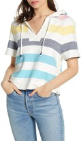 Splendid Shoreline Short Sleeve Stripe Print Pullover Hoodie