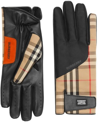 Burberry Logo Applique Vintage Check And Lambskin Gloves