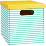 Pottery Barn Teen Striped Printed Storage Bins, Medium, Pool Stripe/Yellow Trim