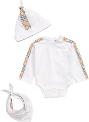 Burberry Alby Bodysuit, Hat & Bib Set