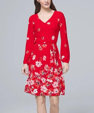 White House Black Market Women's Casual Dresses Racing - Racing Red & Ecru Floral Long-Sleeve A-Line Dress - Women