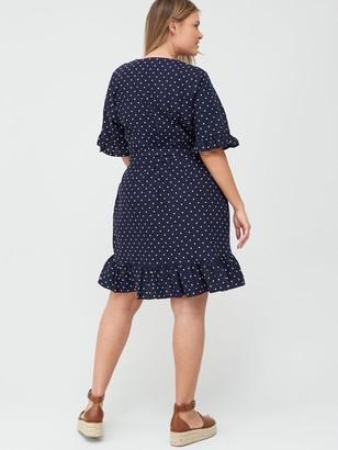 V By Very Curve Linen Wrap Dress - Spot