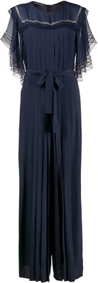 Alberta Ferretti Embroidered Pleated Jumpsuit