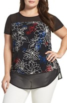 Vince Camuto Plus Size Women's Floral Coastlines Mixed Media Top