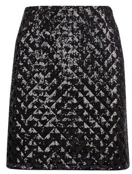Dorothy Perkins Womens Black Diamond Sequin Mini Skirt, Black