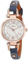 Fossil Women's Quartz Stainless Steel and Leather Automatic Watch, Color:Blue (Model: ES4026)