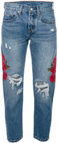 Levi's embroidered distressed cropped jeans