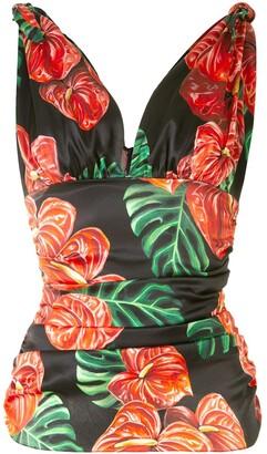 Dolce & Gabbana Tropical Print Silk Ruched Cami Top