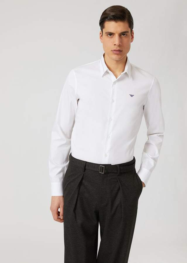 Emporio Armani Comfortable Poplin Shirt With Removable Double Use Collar