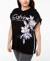 Calvin Klein Plus Size Floral-Print Sleeveless Hoodie
