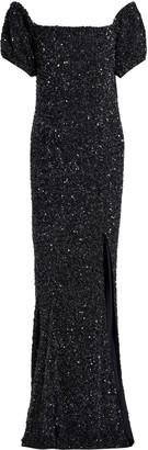 Rachel Gilbert Krizzel Off-the-shoulder Sequined Tulle Maxi Dress