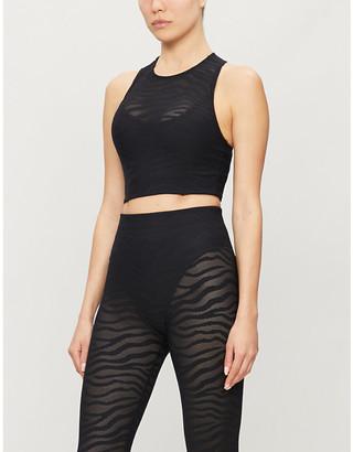 Adam Selman Racer-back stretch-mesh sports bra