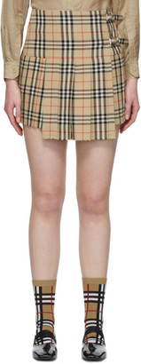Burberry Beige Wool Vintage Check Kilt