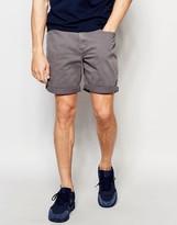 Pull&bear Denim Shorts In Grey In Regular Fit